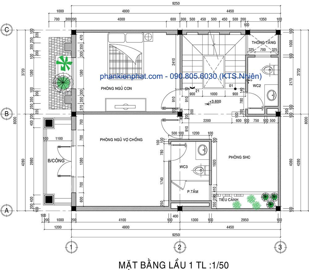 Mặt bằng lầu 1 của biệt thự phố 3 tầng 8x12m bán cổ điển