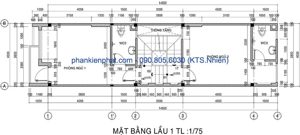 Mặt bằng lầu 1 nhà thông tầng hiện đại 3 tầng 4x14.5m