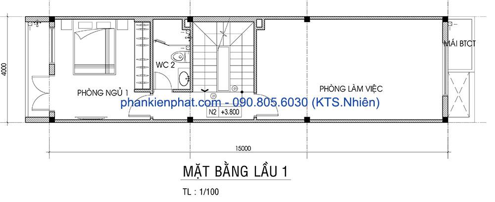 Mặt bằng lầu 1 nhà 4x15m 4 tầng