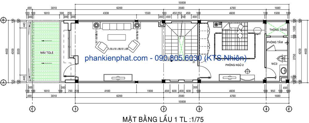 Mặt bằng lầu 1 nhà phố 4 tầng 4,4x15m