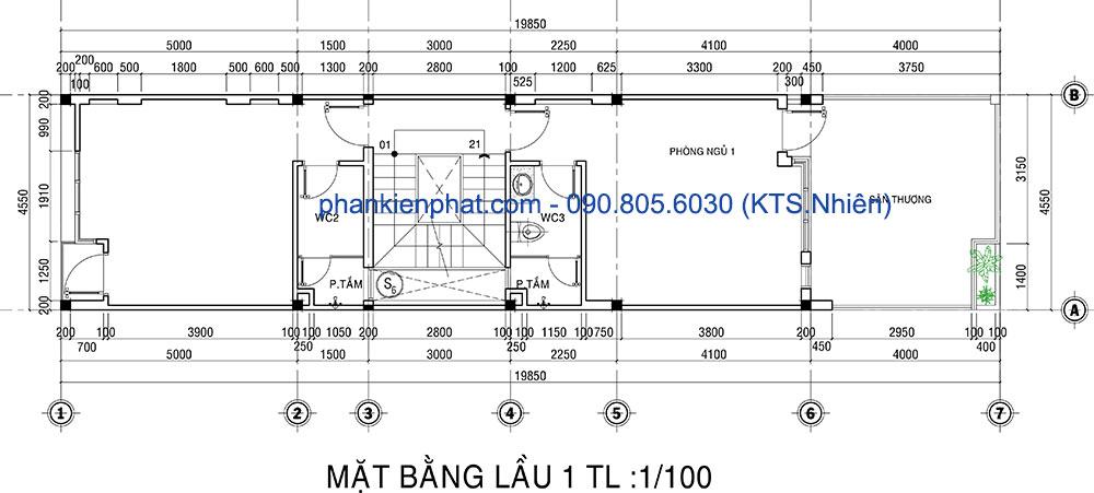 Mặt bằng lầu 1 của mẫu nhà 4 tầng hiện đại 4.5x20m