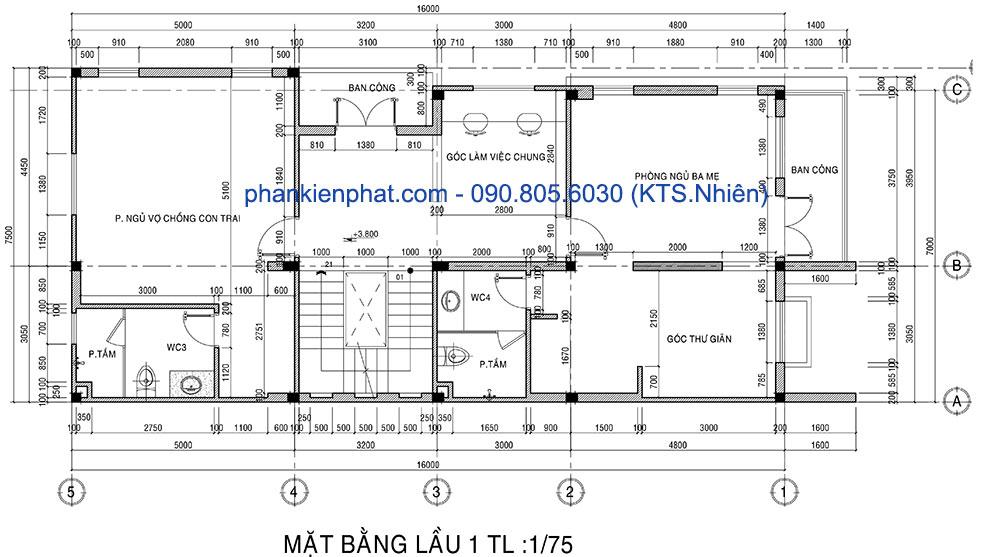 Mặt bằng tầng lầu 1 của biệt thự mini 7x16m 4 tầng