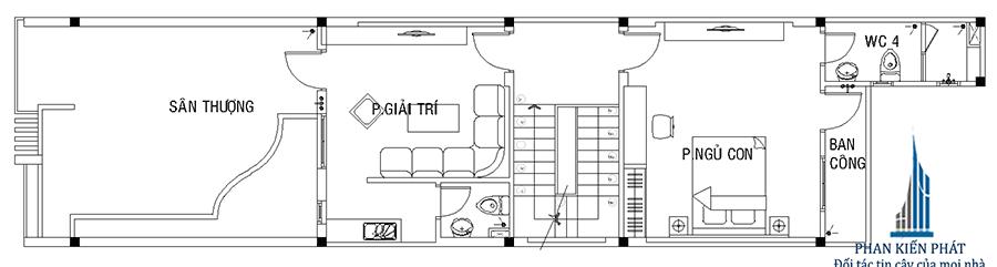 Mặt bằng lầu 2 của nhà phố hiện đại 3 tầng