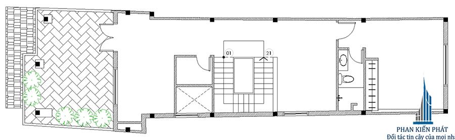 Mặt bằng lầu 2 - nhà phố mái xéo
