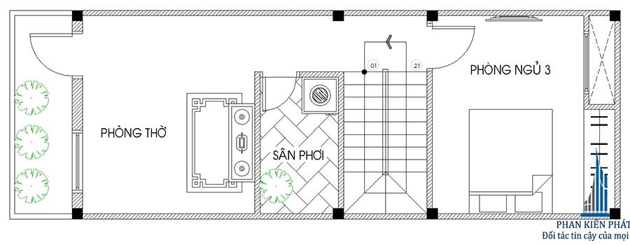 Mặt bằng lầu 2 - nhà ống hiện đại