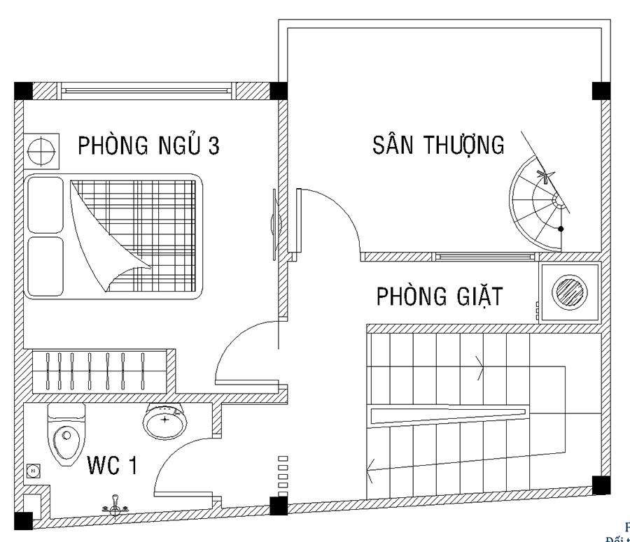 Mặt bằng lầu 2 của nhà phố
