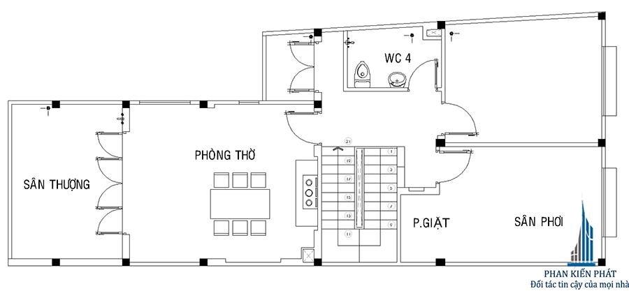 Mặt bằng lầu 2 của biệt thự mái đổ xéo