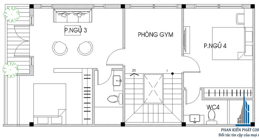 Mặt bằng lầu 2 của nhà phố sang trọng