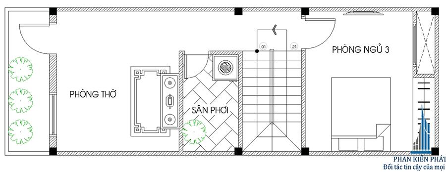 Thiết kế nhà 3 tầng - Mặt bằng lầu 2