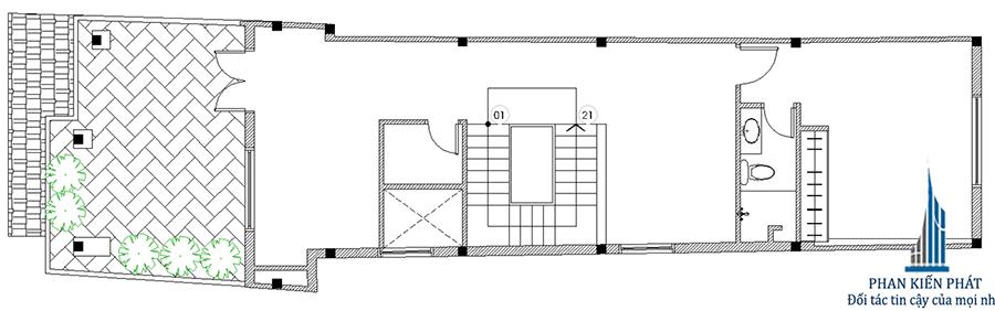 Nhà phố 5x15m - Mặt bằng lầu 2