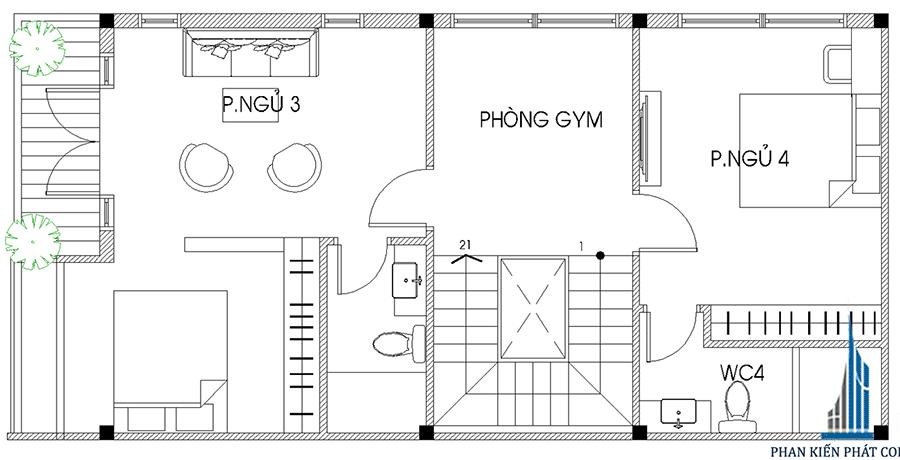 Thiết kế nhà 4 tầng - Mặt bằng lầu 2