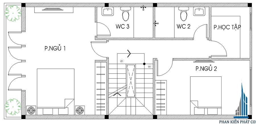 Nhà 4 tầng mặt phố - Mặt bằng lầu 2