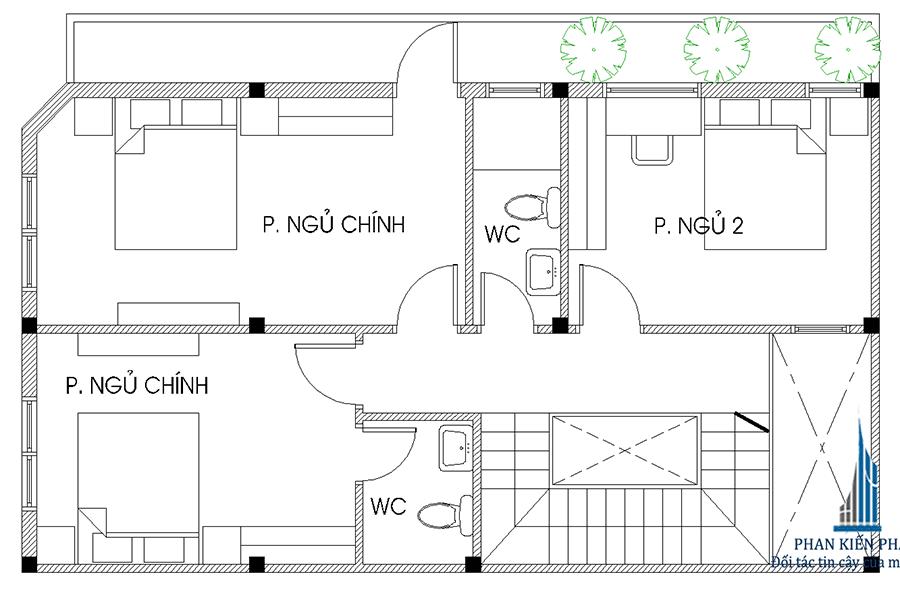 Mặt bằng lầu 2 của nhà ống 4 tầng 2 mặt tiền