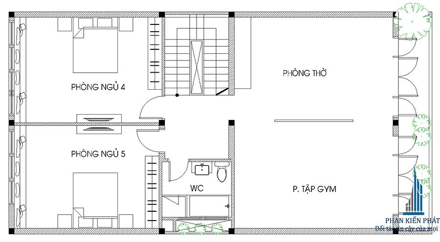 Mặt bằng lầu 2 của nhà hiện đại 4 tầng