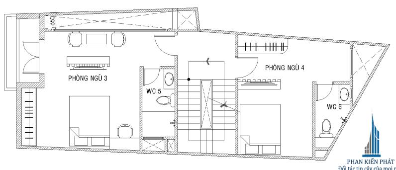 Thiết kế nhà 5 tầng - Mặt bằng lầu 2