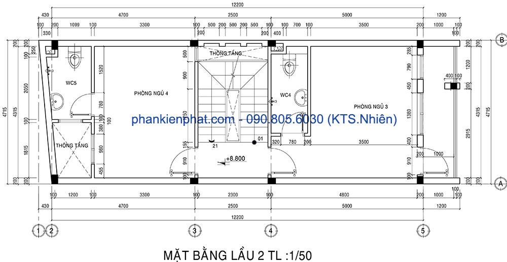 Mặt bằng lầu 2 của nhà 1 trệt 1 lửng 3 lầu đẹp hiện đại 4.7x12m