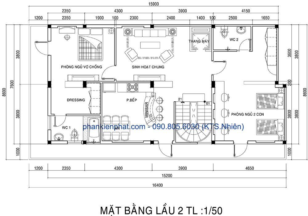 Mặt bằng lầu 2 biệt thự 16.4x7.6m