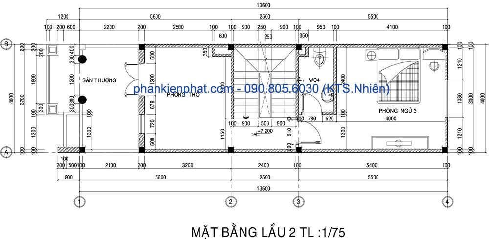 Mặt bằng lầu 2 của nhà 3 tầng 4x13.6m bán cổ điển