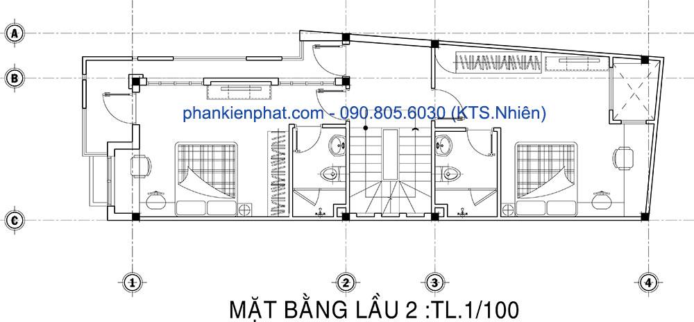 Mặt bằng lầu 2 của nhà 5 tầng mặt phố