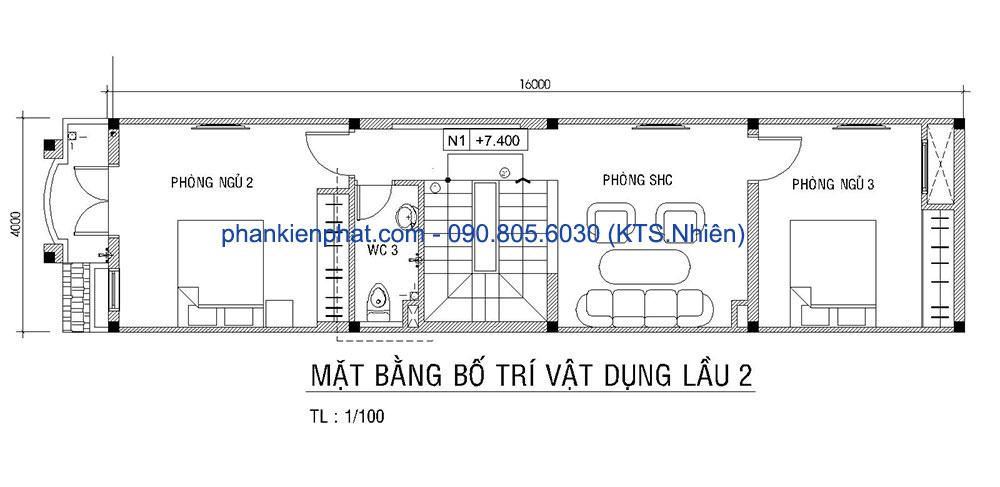Mặt bằng lầu 2 của nhà đẹp 4x16m 4 tầng