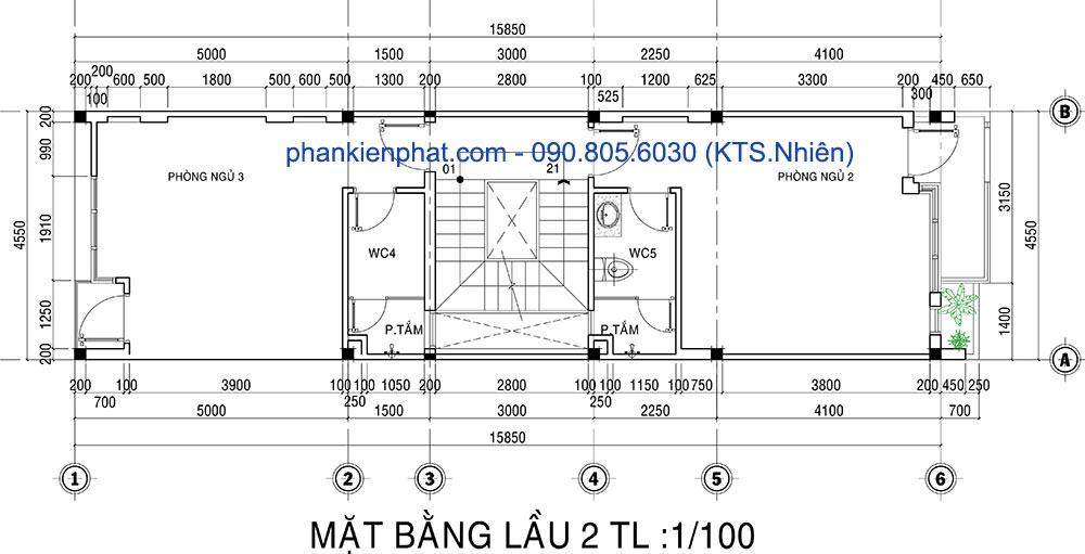 Mặt bằng lầu 2 của nhà ống 1 trệt 3 tầng 4.5x20m