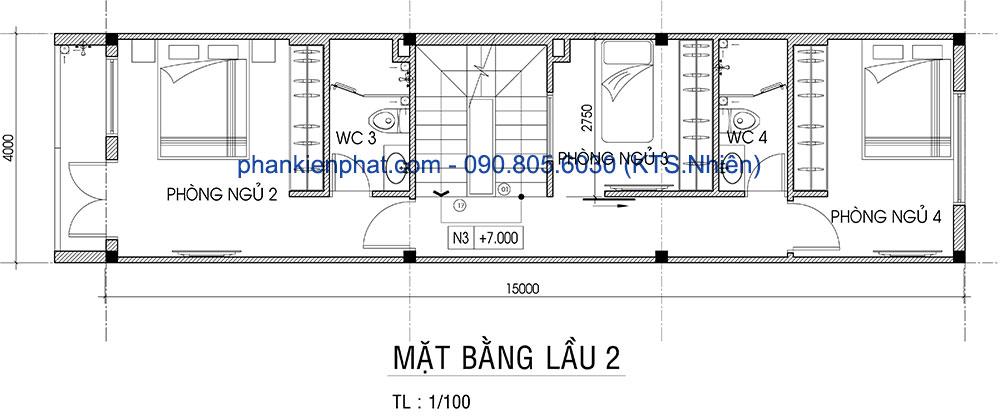 Mặt bằng lầu 2 của nhà 1 trệt 3 tầng hiện đại 4x15m