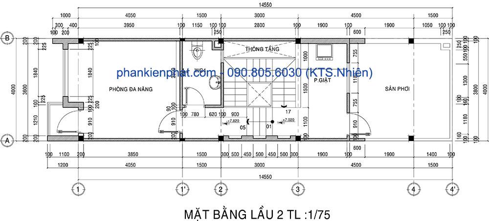 Mặt bằng lầu 2 nhà thông tầng hiện đại 3 tầng 4x14.5m