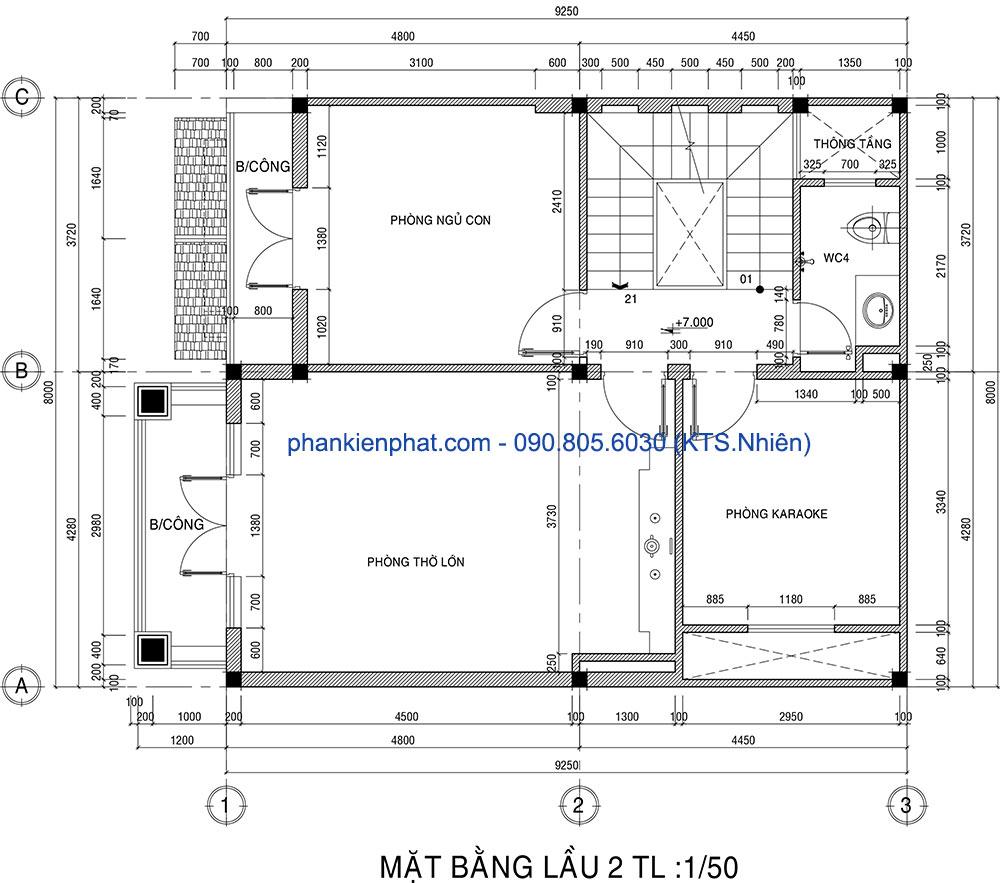 Mặt bằng lầu 2 của biệt thự phố 3 tầng 8x12m bán cổ điển