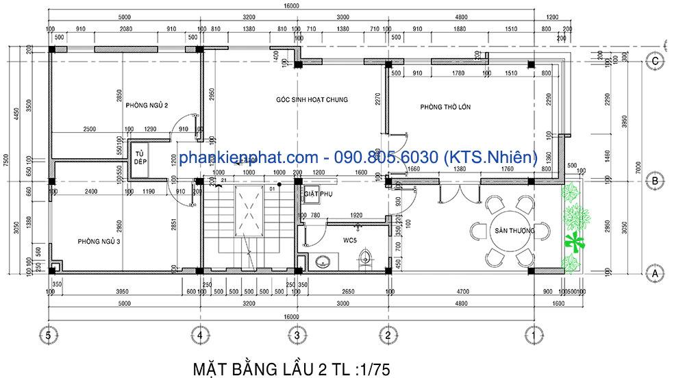 Mặt bằng lầu 2 của nhà phố 4 tầng hiện đại 7x16m