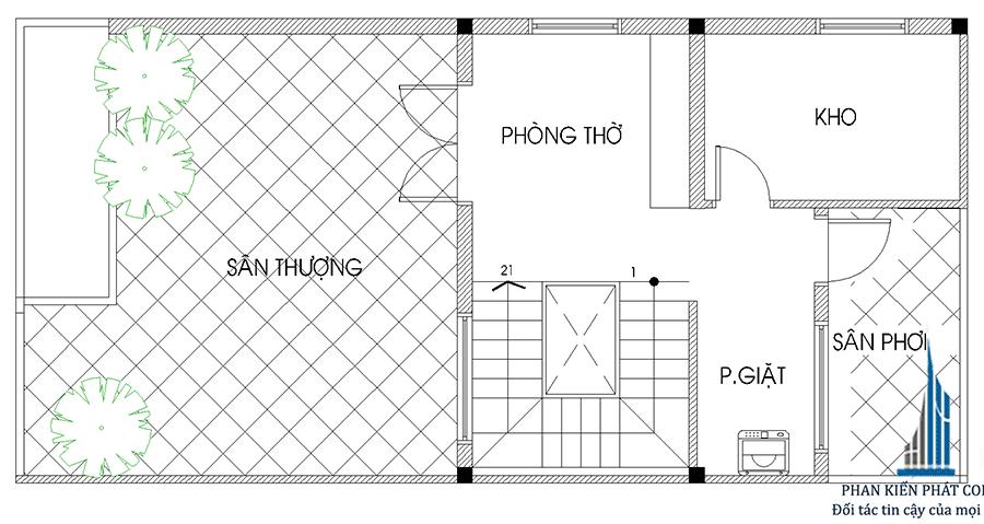 Mặt bằng lầu 3 của nhà phố sang trọng