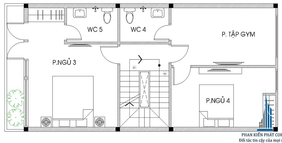 Thiết kế nhà 4 tầng - Mặt bằng lầu 3