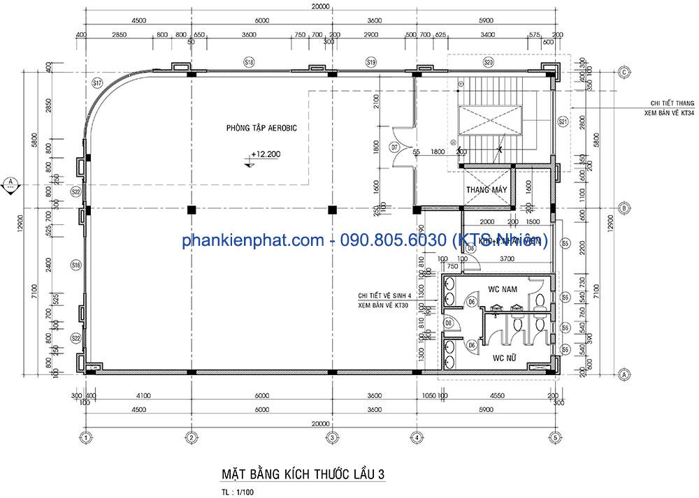 Mặt bằng lầu 3 của biệt thự hoàng gia ấn tượng 13x20m cổ điển