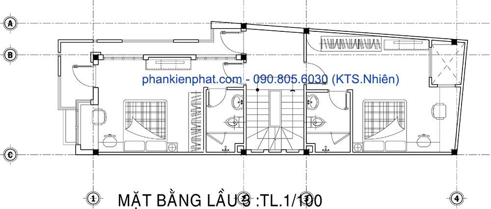 Mặt bằng lầu 3 của nhà đẹp 5 tầng mặt phố