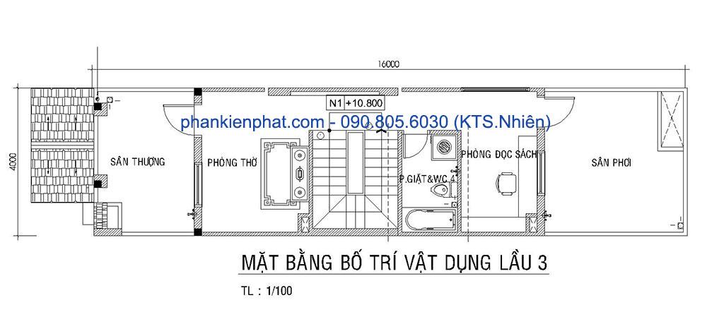 Mặt bằng lầu 3 của bản vẽ thiết kế nhà 4 tầng 4x16m