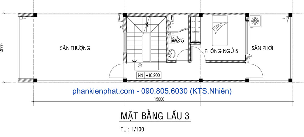 Mặt bằng lầu 3 nhà đẹp 4 tầng 4x15m