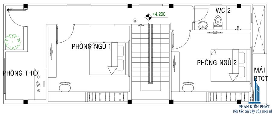 Thiết kế nhà phố - Mặt bằng lầu