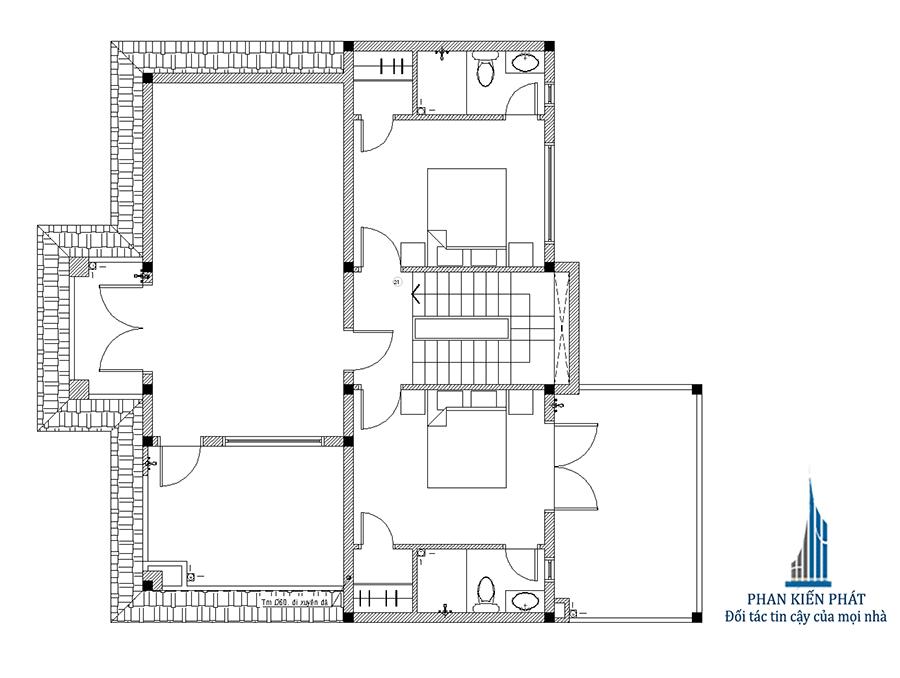 Thiết kế nhà 2 tầng - Mặt bằng lầu