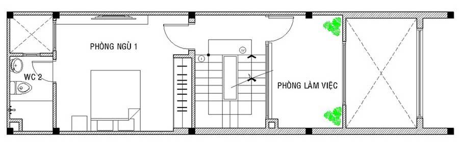 Mặt bằng lửng của nhà 1 trệt 3 tầng đẹp