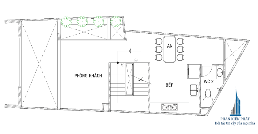 Bản vẽ nhà phố 5 tầng - Mặt bằng lửng