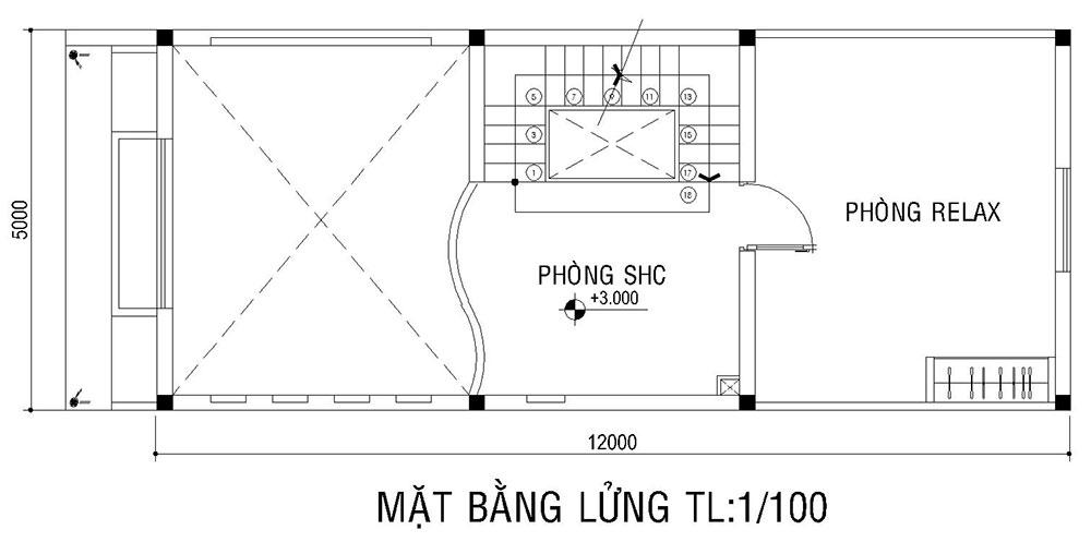 Mặt bằng lửng của mẫu nhà ống đẹp 3 tầng 5x16m