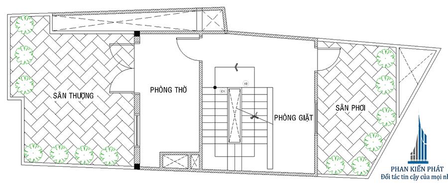 Mặt bằng sân thượng của nhà phố hiện đại