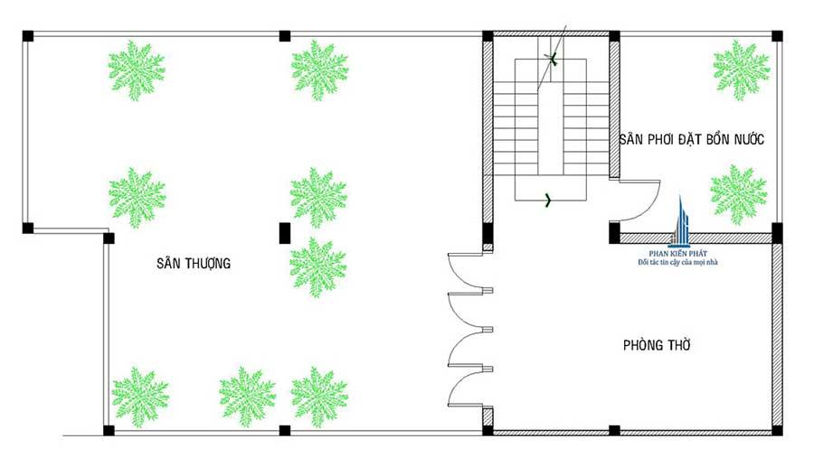 Sân thượng - Nhà phố bán cổ điển 8x14m