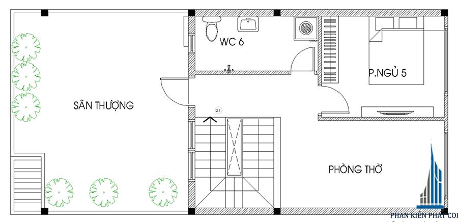 Thiết kế nhà 4 tầng - Sân thượng