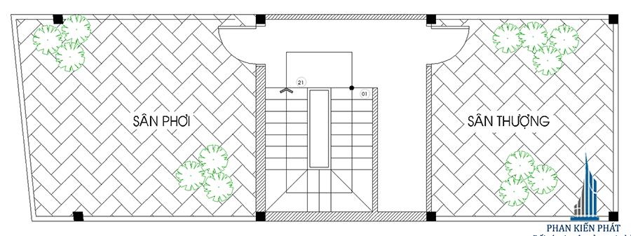 Nhà phố 4 tầng - Mặt bằng sân thượng