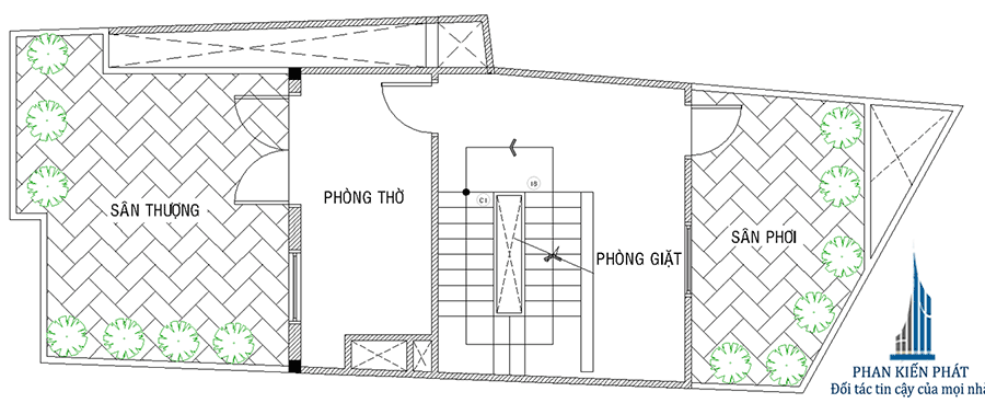 Thiết kế nhà ống - Sân thượng