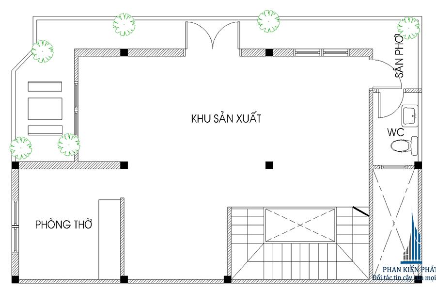 Mặt bằng lầu 3 của nhà 2 mặt tiền 4 tầng
