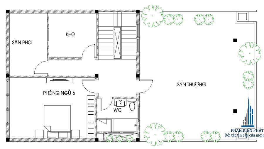 Mặt bằng lầu 3 của nhà 1 trệt 3 tầng mặt phố