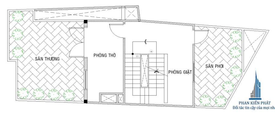 Bản vẽ thiết kế nhà phố 5 tầng - Mặt bằng sân thượng