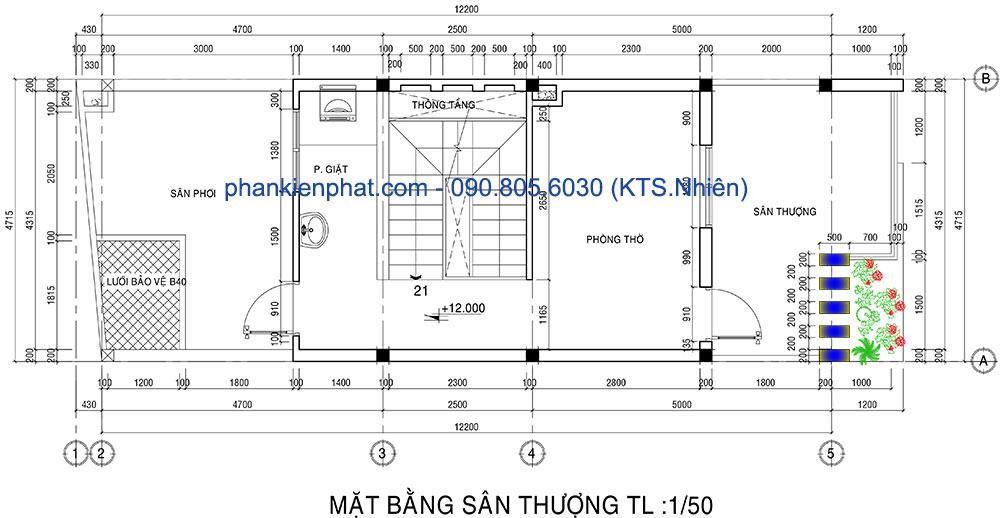 Mặt bằng lầu 3 của nhà 1 trệt 1 lửng 3 lầu đẹp hiện đại 4.7x12m