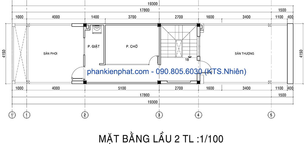 Mặt bằng tầng lầu 2 nhà 1 trệt 2 tầng 4x20m
